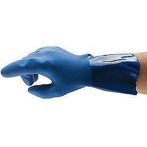 Ansell Chemical Resistant Gloves, Cotton Lining, Blue, PR 1