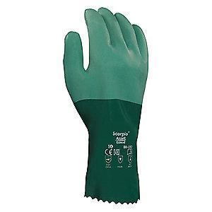 Ansell Chemical Resistant Gloves, Standard Thickness, Knit Lining, Green, PR 1