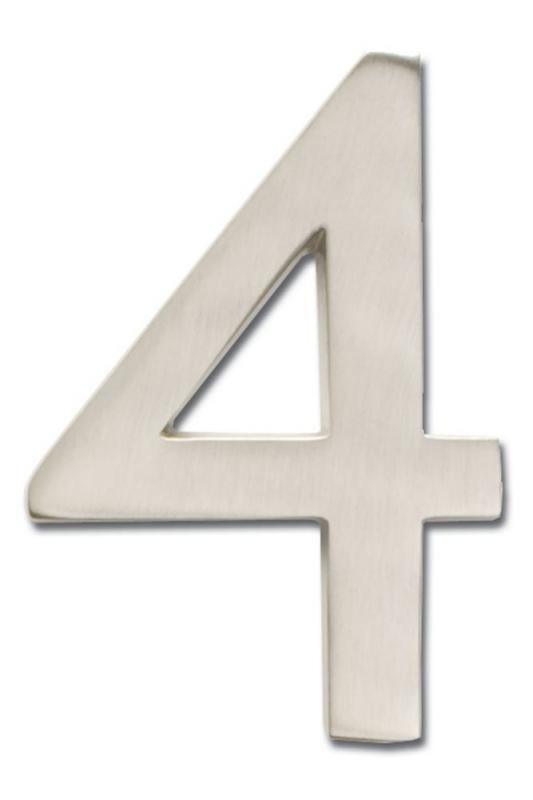 "Architectural Solid Cast Brass 5"" Floating House Number Satin Nickel ""4"""