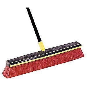 "Tough Guy Polypropylene Push Broom, Block Size 24"", Resin Block Material"