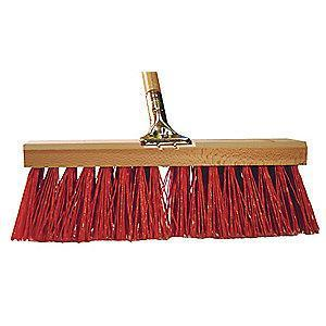 "Tough Guy Poly Push Broom, Block Size 16"", Hardwood Block Material"