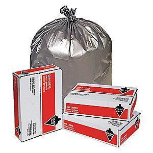 Tough Guy 56 gal. Super Heavy Trash Bags, Silver, Flat Pack of 50