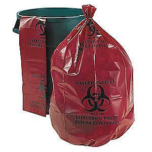 Ability One 33 gal. Red Trash Bags, Super Heavy Strength, Flat Pack, 100 PK