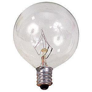 GE 25W Incandescent Lamp, G16.5, Candelabra Screw (E12), 235 lm, 2500K
