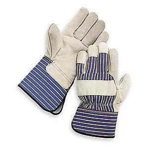 Condor Cowhide Leather Palm Gloves with Gauntlet Cuff, Gray, L