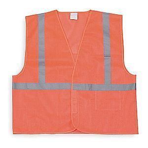 Condor Orange/Red with Silver Stripe High Visibility Vest, ANSI 1, XL