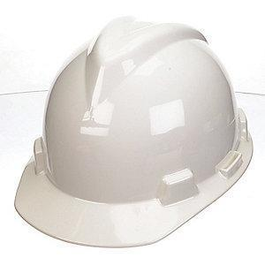 MSA Front Brim Hard Hat, 4 pt. Ratchet Susp., White, Hat Size: 6 to 7-1/8