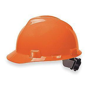 MSA Front Brim Hard Hat, 4 pt. Ratchet Susp., Orange, Hat Size: 6-1/2 to 8