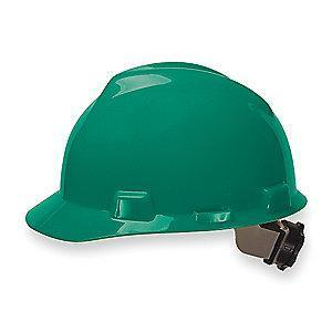 MSA Front Brim Hard Hat, 4 pt. Ratchet Susp., Green, Hat Size: 6-1/2 to 8