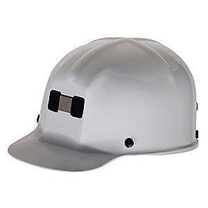 MSA Front Brim Hard Hat, 4 pt. Ratchet Susp., White, Hat Size: 6-1/2 to 8