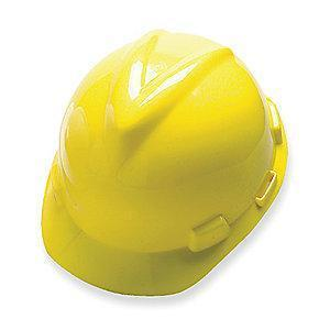 MSA Front Brim Hard Hat, 4 pt. Pinlock Susp., Yellow, Hat Size: Fits Most