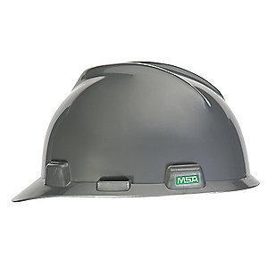 MSA Front Brim Hard Hat, 4 pt. Ratchet Susp., Silver, Hat Size: 6-1/2 to 8