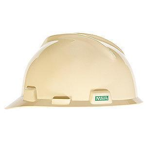 MSA Front Brim Hard Hat, 4 pt. Ratchet Susp., Light Buff, Hat Size: 6-1/2 to 8