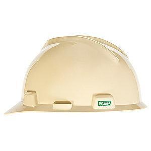 MSA Front Brim Hard Hat, 4 pt. Pinlock Susp., Light Buff, Hat Size: 6-1/2 to 8