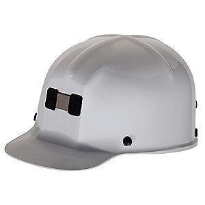 MSA Front Brim Hard Hat, 4 pt. Ratchet Susp., White, Hat Size: 6 to 9