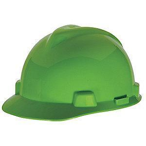 MSA Hard Hat, 4 pt. Ratchet Susp., Lime Green, Hat Size: 6-1/2 to 8
