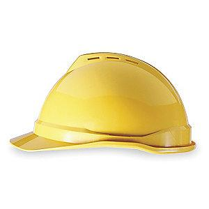 MSA Front Brim Hard Hat, 4 pt. Ratchet Susp., Yellow, Hat Size: 6-1/2 to 8