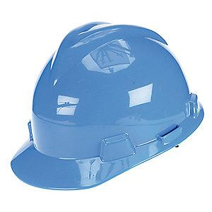 MSA Front Brim Hard Hat, 4 pt. Ratchet Susp., Blue, Hat Size: 6 to 7-1/8