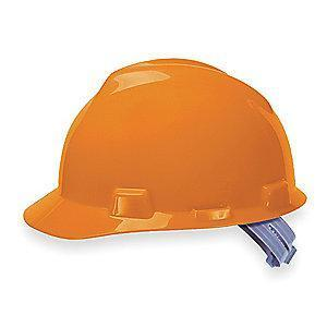 MSA Front Brim Hard Hat, 4 pt. Pinlock Susp., Orange, Hat Size: 6-1/2 to 8