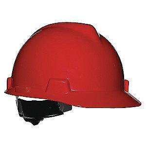 MSA Front Brim Hard Hat, 4 pt. Ratchet Susp., Red, Hat Size: 6-1/2 to 8