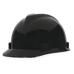 MSA Front Brim Hard Hat, 4 pt. Ratchet Susp., Black, Hat Size: 6-1/2 to 8