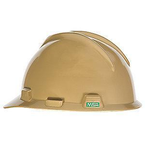 MSA Front Brim Hard Hat, 4 pt. Pinlock Susp., Gold, Hat Size: One Size Fits Most