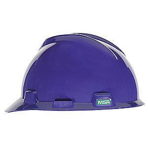 MSA Front Brim Hard Hat, 4 pt. Pinlock Susp., Purple, Hat Size: 6-1/2 to 8