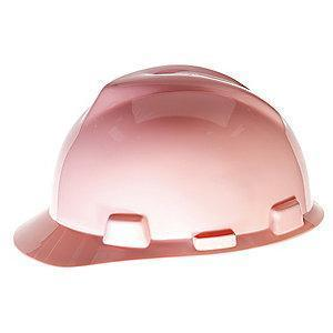MSA Front Brim Hard Hat, 4 pt. Ratchet Susp., Pink, Hat Size: 6-1/2 to 8