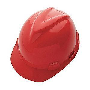 MSA Front Brim Hard Hat, 4 pt. Ratchet Susp., Red, Hat Size: 6-5/8 to 7-3/4