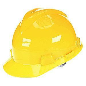 MSA Front Brim Hard Hat, 4 pt. Ratchet Susp., Yellow, Hat Size: 6 to 7-1/8