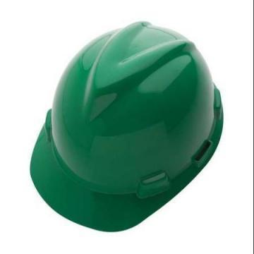 MSA Front Brim Hard Hat, 4 pt. Ratchet Susp., Green, Hat Size: 6-5/8 to 7-3/4