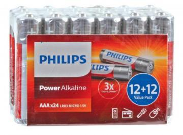 Philips Power Alkaline AAA Batteries 24 Pack