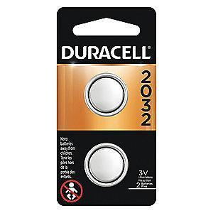 Duracell Lithium Coin Cell, Voltage 3, Battery Size 2032, 2 PK