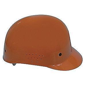 Condor Orange Polyethylene Bump Cap, Perforated Sides, Fits Hat Size: 6.5 to 7.5