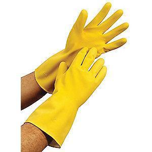 Condor Chemical Resistant Gloves, Flock Lining, Yellow, PR 1