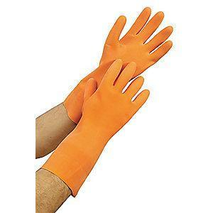 Condor Chemical Resistant Gloves, Flock Lining, Orange, PR 1