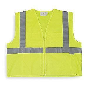 Condor Yellow/Green with Silver Stripe High Visibility Vest, Zipper, 3XL