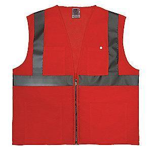 Condor Orange/Red with Silver Stripe High Visibility Vest, Zipper, 3XL