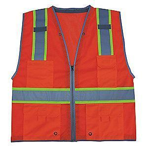 Condor Orange/Red with Silver Stripe High Visibility Vest, Zipper, 2XL