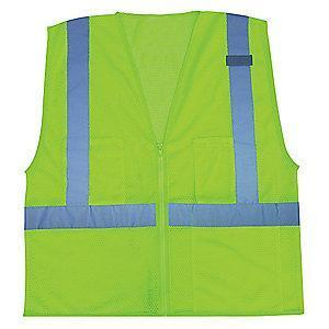 Condor Yellow/Green with Silver Stripe High Visibility Vest, Zipper, 2XL