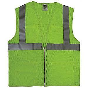 Condor Yellow/Green with Silver Stripe High Visibility Vest, Zipper, 5XL