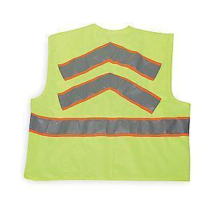 Condor Yellow/Green with Orange/Silver Stripe High Visibility Vest, Zipper, XL