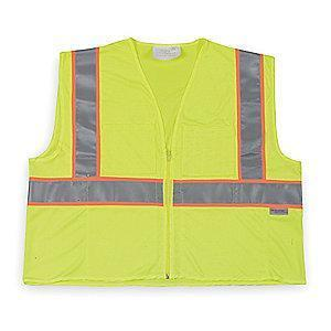 Condor Yellow/Green with Orange/Silver Stripe High Visibility Vest, Zipper, 2XL