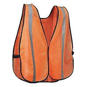 Condor Orange/Red with Silver Stripe High Visibility Vest, Hook-and-Loop