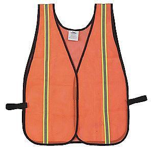 Condor Orange/Red with Silver Stripe High Visibility Vest, Hook-and-Loop, 2-3XL