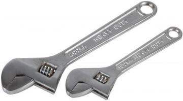 "Duratool 6"" & 8"" Chrome Finish Adjustable Wrench Set - 2 Piece"