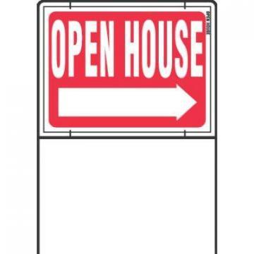 "Hy-Ko Sign, ""Open House"", Red & White With Wire Frame, 18x24"""