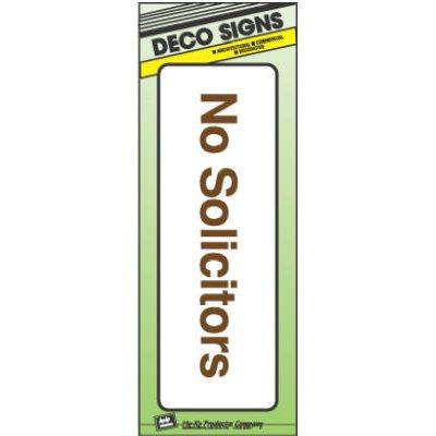 "Hy-Ko Sign, ""No Solicitors"", Peel & Stick, Brown & White Plastic, 3x9"""