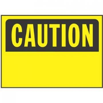 "Hy-Ko Sign, ""Caution"", Black/Yellow Polypropylene, 10x14"""