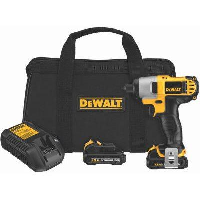 "DeWalt Cordless Impact Driver Kit, .25"", LED,  12-Volt Lithium Ion Battery Packs"